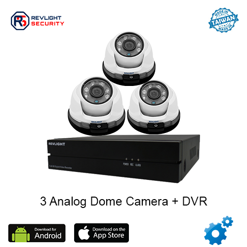 3 Dome Camera DVR Security System - Revlight Security